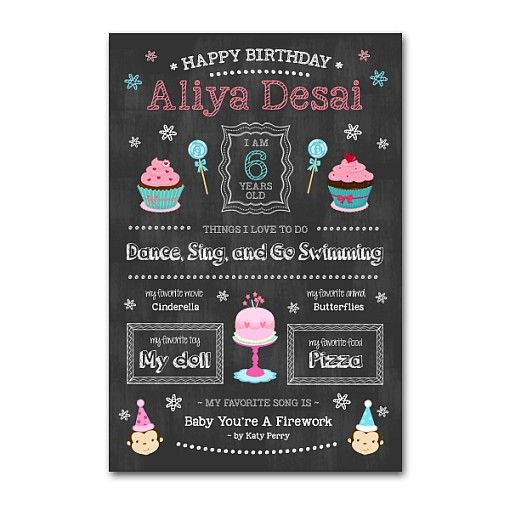 Birthday Girl Chalkboard Template  1
