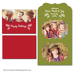 Green Peace Folded Luxe Holiday Card Template
