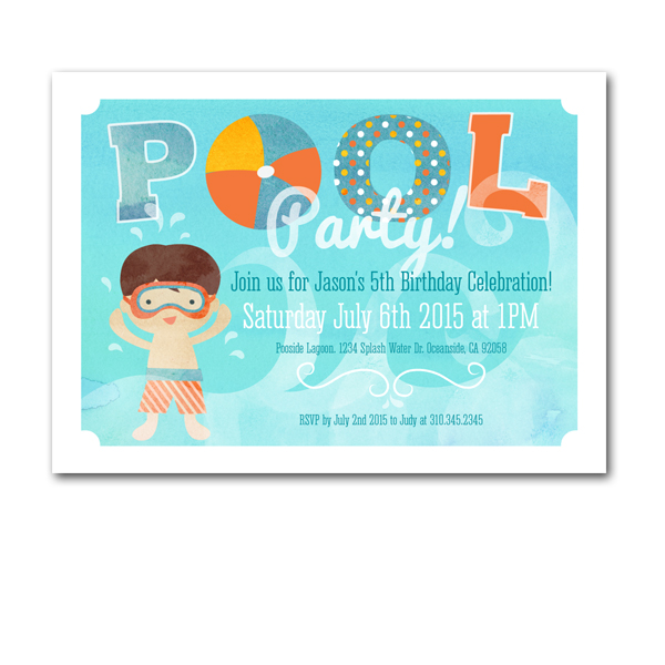 Pool Party Birthday Invitation Card 5x7